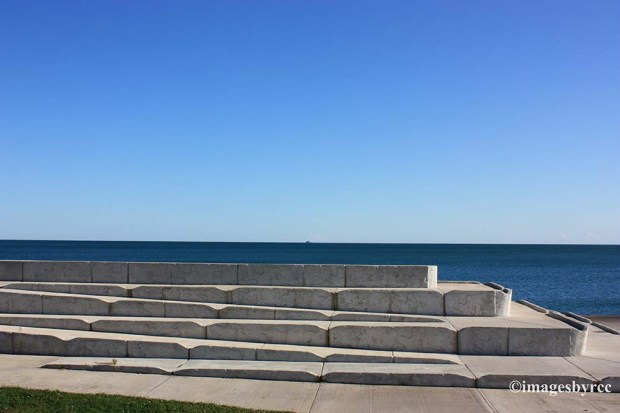 Sitting on the bank of Lake Michigan